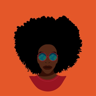 black woman with terrestrial globe reflected in her glasses