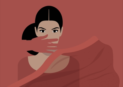 Women Rights - Traditional Indian Woman Interrupted in Dark Salmon Background