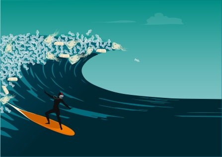 Woman surfing in a big wave of plastic trash