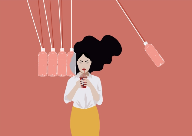 newton_pendulum_with_woman_and_plastic bottles