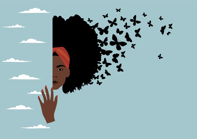 black woman cleaning her thoughts